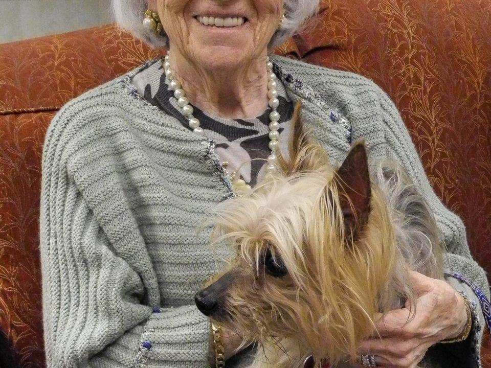senior citizen with dog
